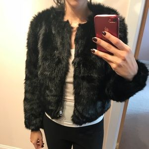 Bebe black faux fur jacket.